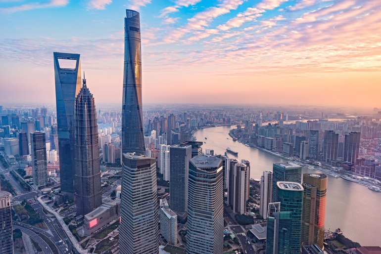 Aerial_view_of_Shanghai_city_center_at_sunset_time._China.