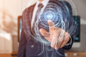 Businessman_on_blurred_background_using_digital_artificial_intelligence_interface_3D_rendering