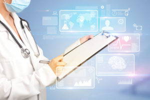Female_doctor_holding_notepad_with_blue_background_and_informative_graphs_and_charts