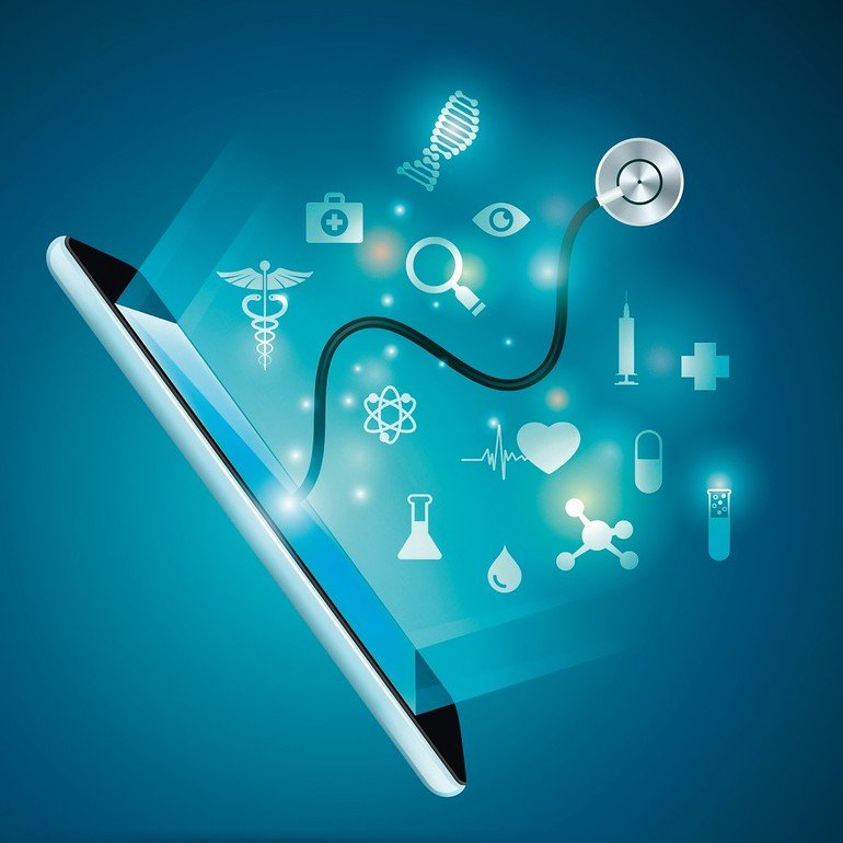 concept_of_electronic_health_or_e-health,_graphic_of_realistic_smart_device_with_stethoscope_reaching_out_from_the_screen