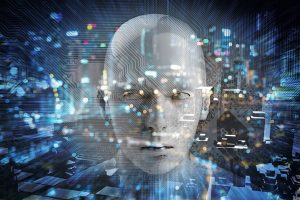 Internet_of_things_Disruption_everything_,_neural_network_,_deep_learning_,_artificial_intelligence_concept._3d_rendering_of_robot_face_,_blue_bokeh_and_building_abstract_background.
