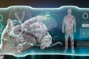 View_of_a_Cyborg_hand_holding_a_Futuristic_template_medical_interface_hud_3d_rendering