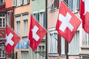 Ancient_street_Augustinergasse_in_Zurich_decorated_with_swiss_flags