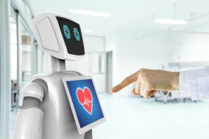 Robotic_advisor_service_technology_in_healthcare_smart_hospital_,_artificial_intelligence_concept._Doctor_finger_point_to_3d_rendering_robot.